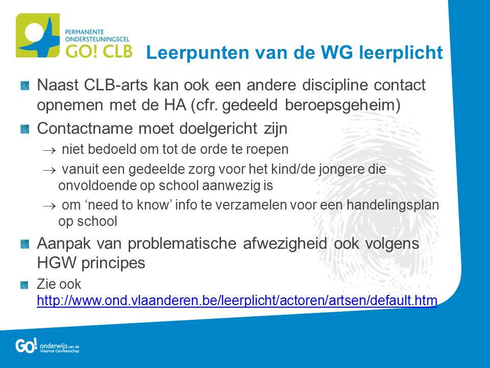Naast CLB-arts kan ook een andere discipline contact opnemen met de HA (cfr. gedeeld beroepsgeheim) Contactname moet doelgericht zijn  niet bedoeld o