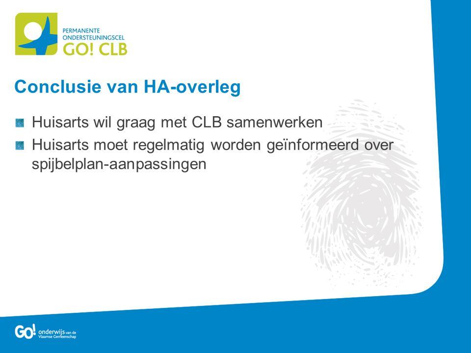 Huisarts wil graag met CLB samenwerken Huisarts moet regelmatig worden geïnformeerd over spijbelplan-aanpassingen Conclusie van HA-overleg
