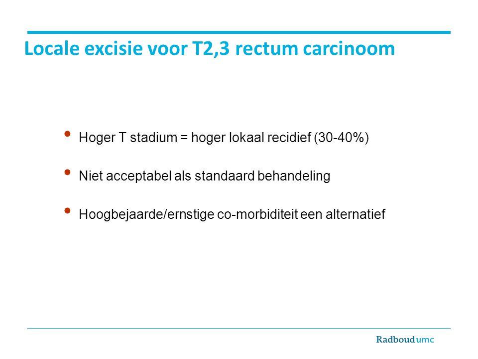 Locale excisie voor T2,3 rectum carcinoom Hoger T stadium = hoger lokaal recidief (30-40%) Niet acceptabel als standaard behandeling Hoogbejaarde/erns