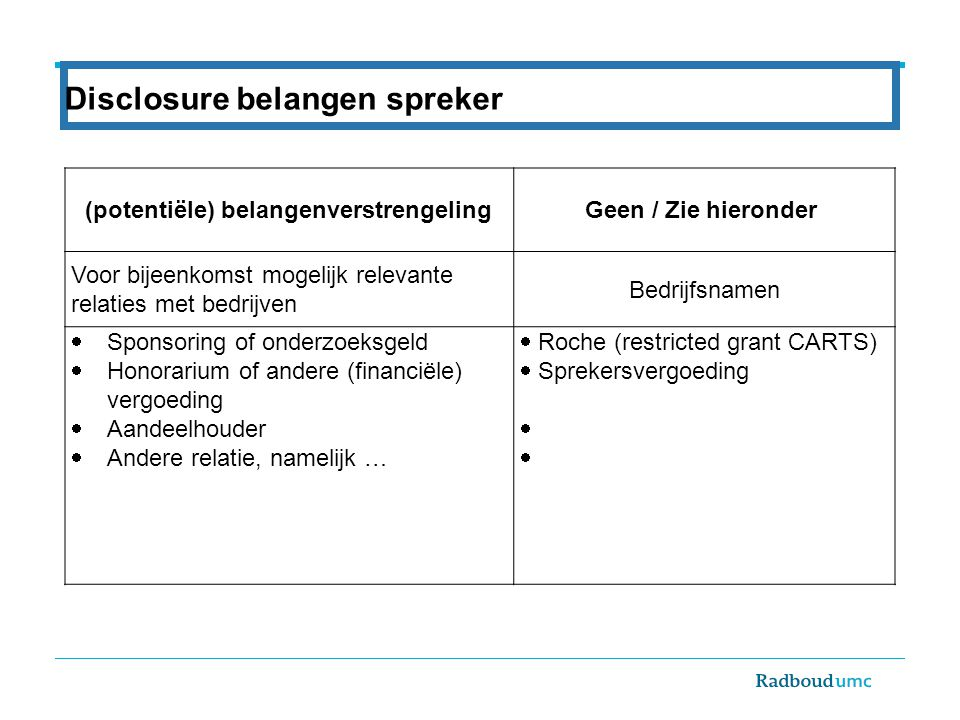 Rectum carcinoom: 2014 en erna Very early rectal cancers (≤ T1): TEM Hoog risico T1 na poliepectomie/TEM:TESAR Hoog-mid T2,3N0: TME Laag T2,3N0:TRECART N1 rectumcarcinoom *: 5x5 en TME Bedreigde MRF *:Chemoradiation and (Beyond) TME Rapido *) ALTIJD herevaluatie na 6-8 weken met MRI, RT, scopie Indien (near) complete response:Registratie studie