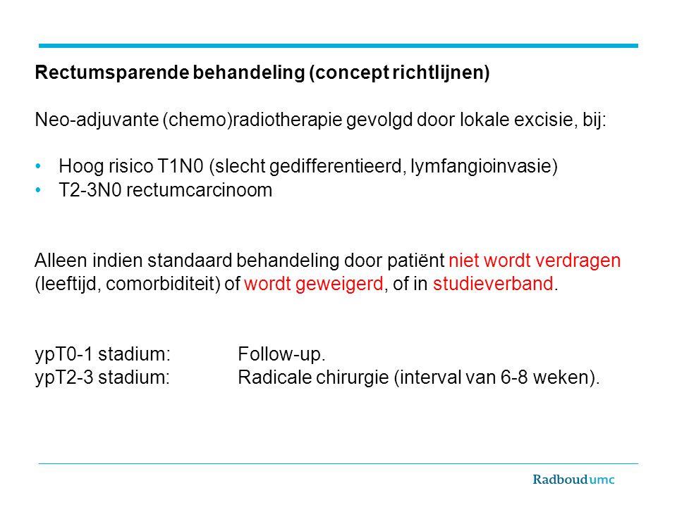 Rectumsparende behandeling (concept richtlijnen) Neo-adjuvante (chemo)radiotherapie gevolgd door lokale excisie, bij: Hoog risico T1N0 (slecht gediffe