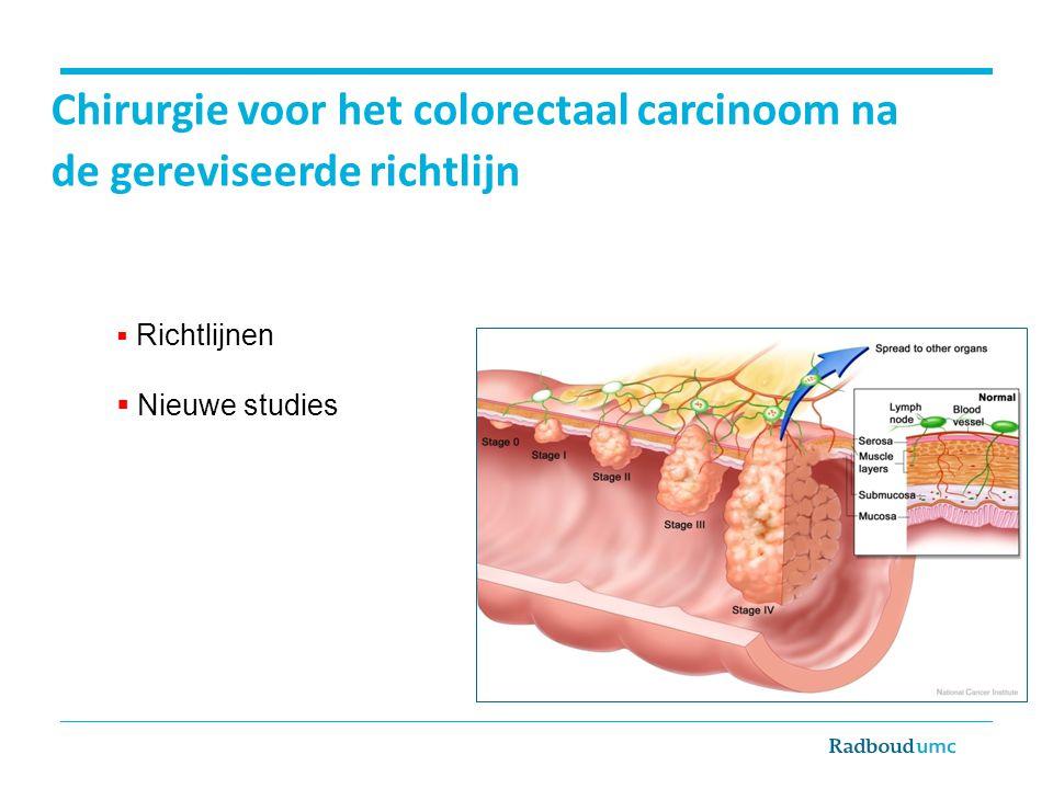 Chirurgie voor het colorectaal carcinoom na de gereviseerde richtlijn  Richtlijnen  Nieuwe studies