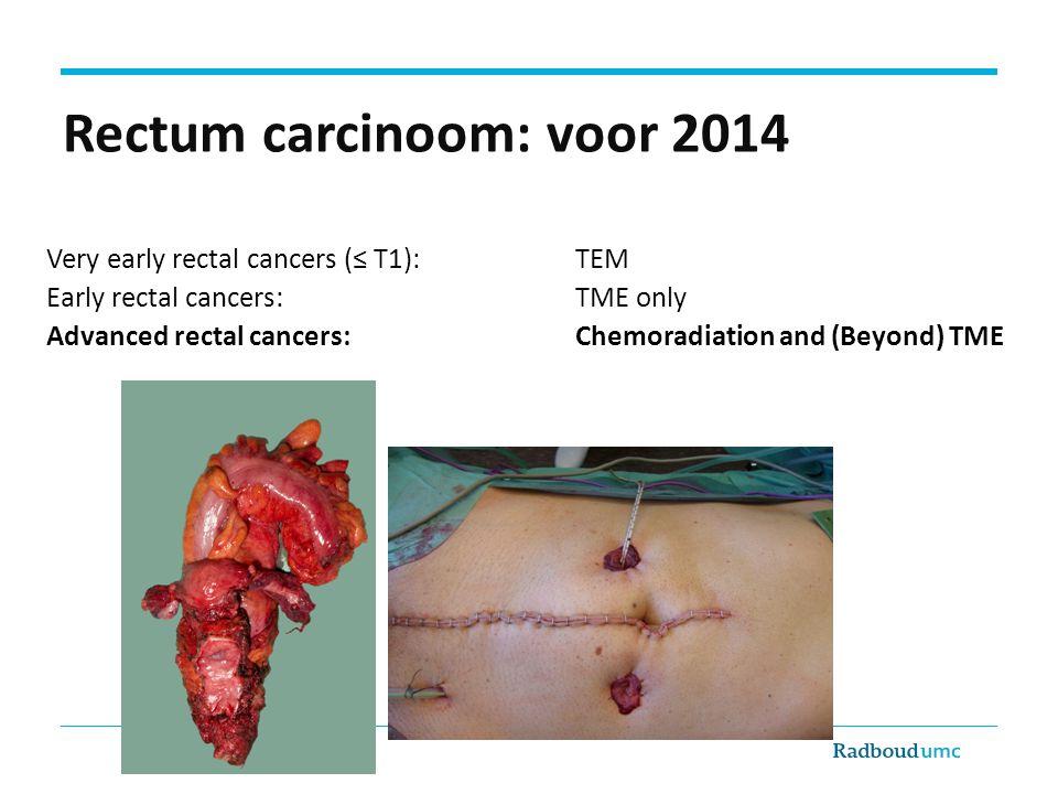 Complete Respons Pathologische CR na CRtx voor locally advanced tumoren 16% (1) Hoe bepaal je een cCR: RT Rectoscopie ERUS CT/MRI PET Wanneer te bepalen.