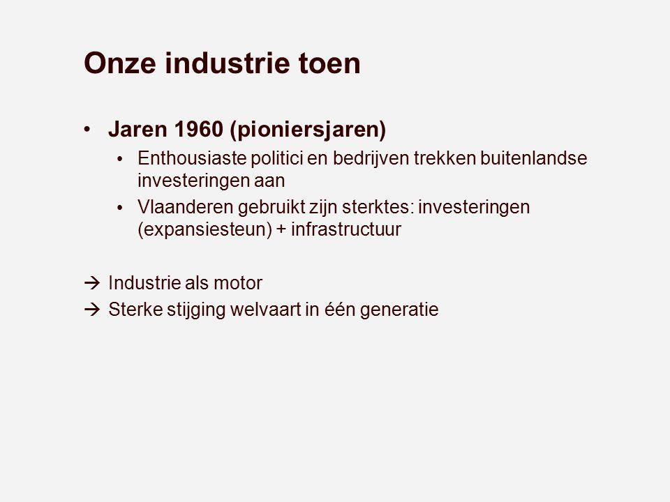 Onze industrie toen Jaren 1960 (pioniersjaren) Enthousiaste politici en bedrijven trekken buitenlandse investeringen aan Vlaanderen gebruikt zijn ster