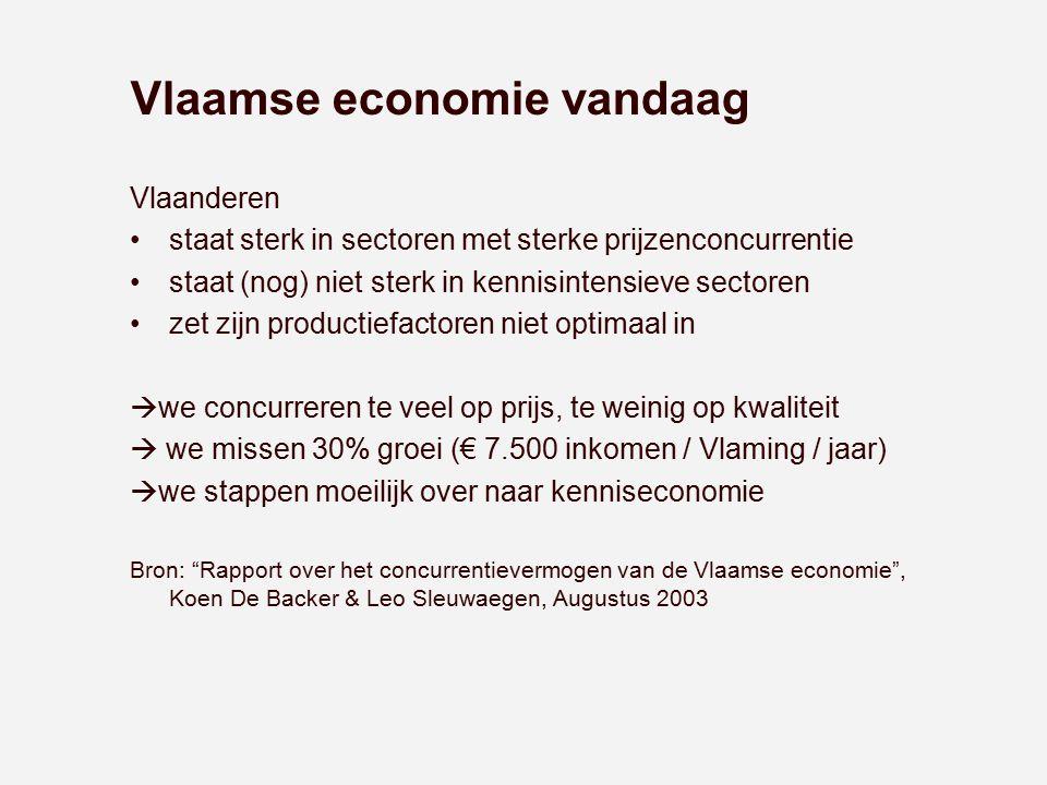 Vlaamse economie vandaag Vlaanderen staat sterk in sectoren met sterke prijzenconcurrentie staat (nog) niet sterk in kennisintensieve sectoren zet zij