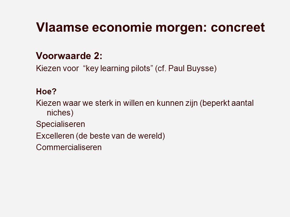 """Vlaamse economie morgen: concreet Voorwaarde 2: Kiezen voor """"key learning pilots"""" (cf. Paul Buysse) Hoe? Kiezen waar we sterk in willen en kunnen zijn"""