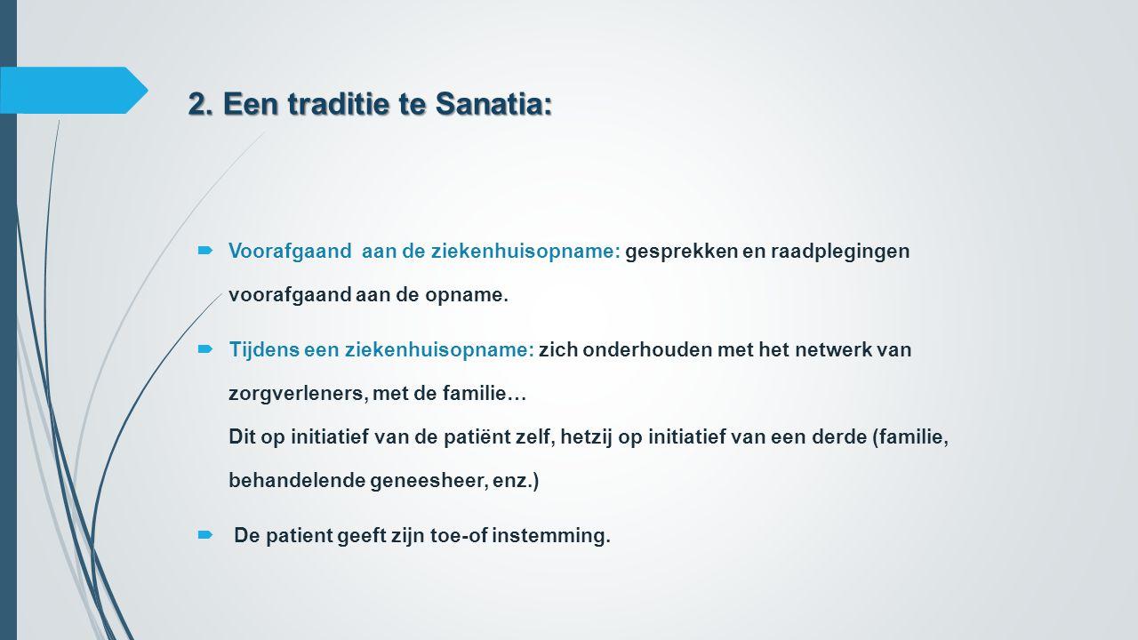 2. Een traditie te Sanatia:  Voorafgaand aan de ziekenhuisopname: gesprekken en raadplegingen voorafgaand aan de opname.  Tijdens een ziekenhuisopna