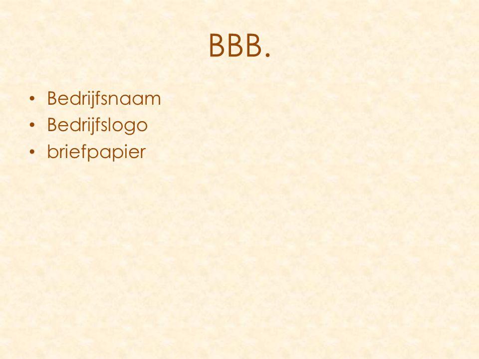 Bedrijfsnaam Bedrijfslogo briefpapier BBB.