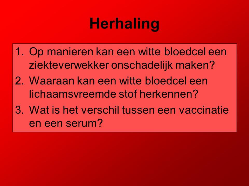 Herhaling 1.Op manieren kan een witte bloedcel een ziekteverwekker onschadelijk maken? 2.Waaraan kan een witte bloedcel een lichaamsvreemde stof herke