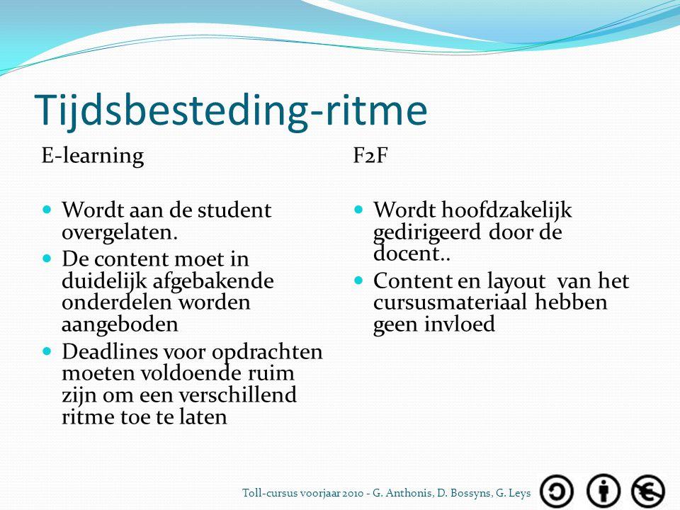 Tijdsbesteding-ritme E-learning Wordt aan de student overgelaten. De content moet in duidelijk afgebakende onderdelen worden aangeboden Deadlines voor