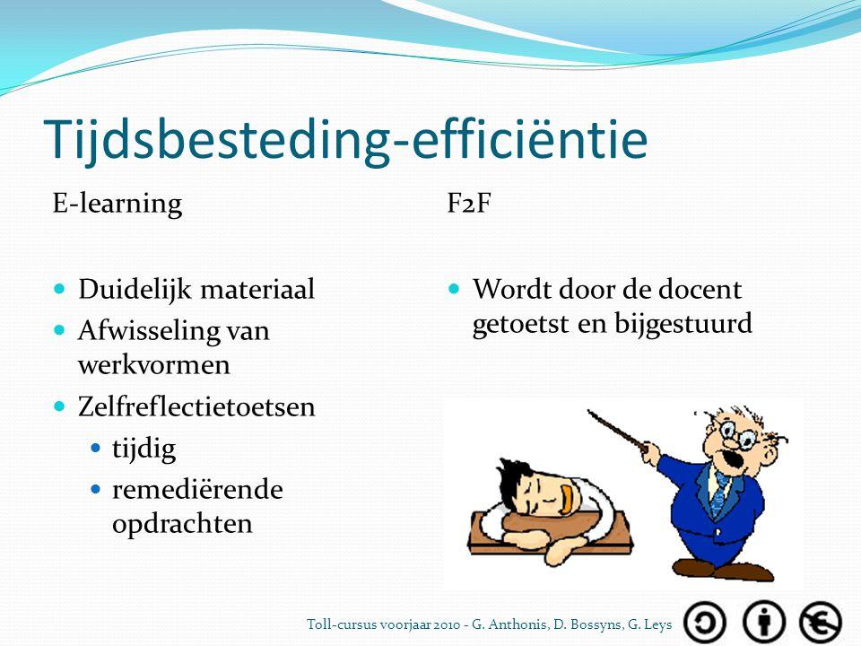 Tijdsbesteding-efficiëntie E-learning Duidelijk materiaal Afwisseling van werkvormen Zelfreflectietoetsen tijdig remediërende opdrachten F2F Wordt doo