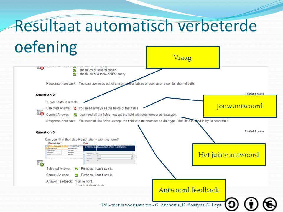 Resultaat automatisch verbeterde oefening Jouw antwoord Het juiste antwoord Vraag Antwoord feedback Toll-cursus voorjaar 2010 - G. Anthonis, D. Bossyn