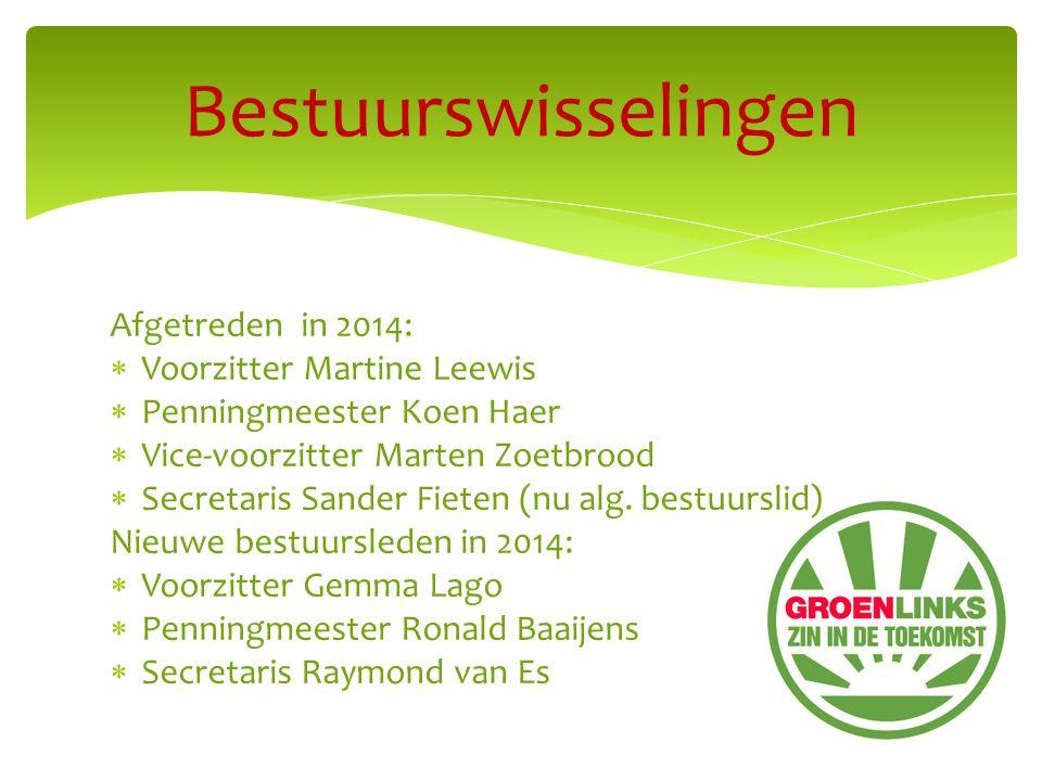 Afgetreden in 2014:  Voorzitter Martine Leewis  Penningmeester Koen Haer  Vice-voorzitter Marten Zoetbrood  Secretaris Sander Fieten (nu alg.