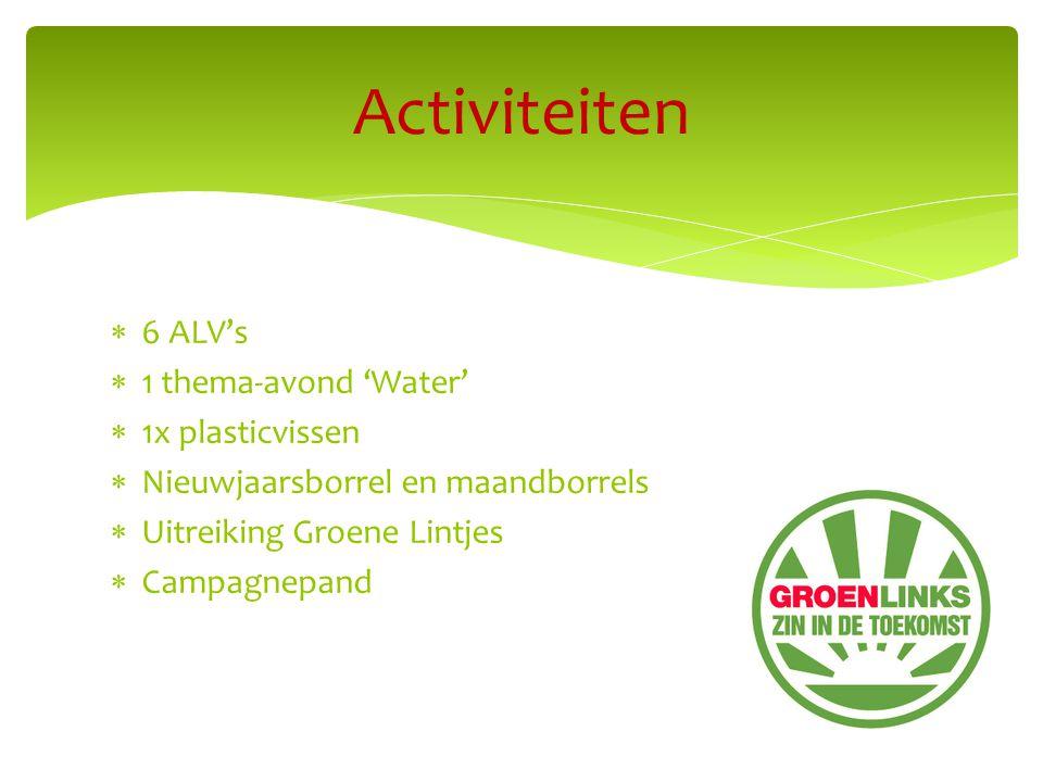  6 ALV's  1 thema-avond 'Water'  1x plasticvissen  Nieuwjaarsborrel en maandborrels  Uitreiking Groene Lintjes  Campagnepand Activiteiten
