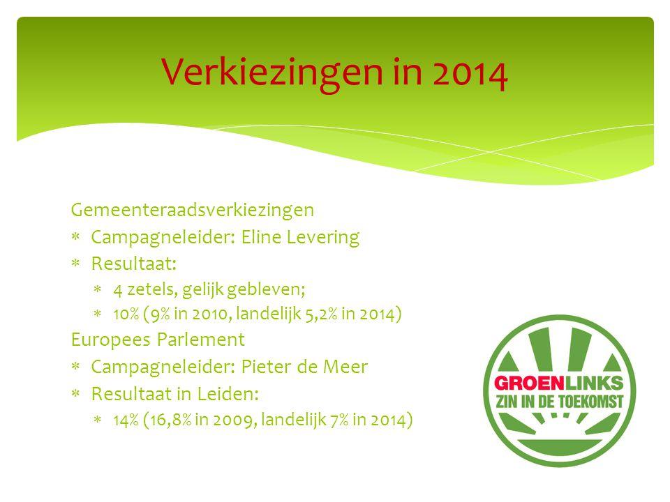 Gemeenteraadsverkiezingen  Campagneleider: Eline Levering  Resultaat:  4 zetels, gelijk gebleven;  10% (9% in 2010, landelijk 5,2% in 2014) Europees Parlement  Campagneleider: Pieter de Meer  Resultaat in Leiden:  14% (16,8% in 2009, landelijk 7% in 2014) Verkiezingen in 2014