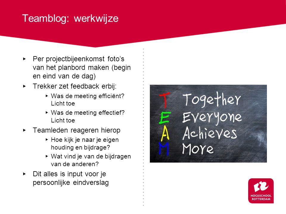 Input verzamelen tijdens project ▸ Verzamel alle post-its van het scrum bord met jouw naam erop voor je eigen logboek / blog ▸ Reageer op het teamblog over jouw bijdrage als teamlid aan de meetings ▸ Reageer op het teamblog over jouw bijdrage als team trekker in de team meetings ▸ Verzamel de observatieformulieren van de bsk docent over jouw bijdrage aan de team meeting ▸ Noteer hoeveel tijd je in totaal besteedt aan het project (tijdens bsk/projectlessen en daarbuiten) Schrijf dit in het persoonlijk eindverslag: ▸ Je legt uit wat je bijdrage geweest is aan het project (gebruik o.a.