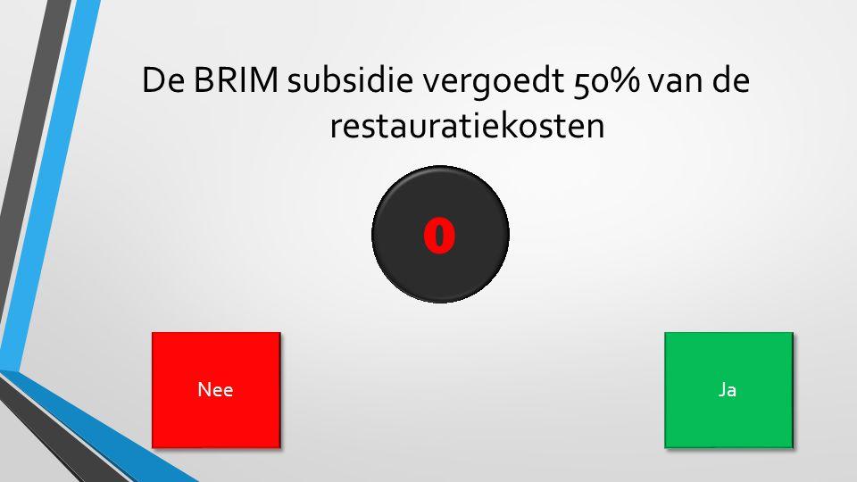 De BRIM subsidie vergoedt 50% van de restauratiekosten 109876543210 Nee Ja