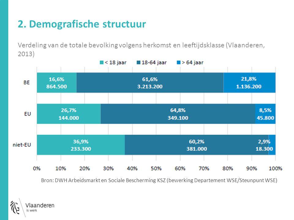 Verdeling van de totale bevolking volgens herkomst en leeftijdsklasse (Vlaanderen, 2013) 2. Demografische structuur Bron: DWH Arbeidsmarkt en Sociale