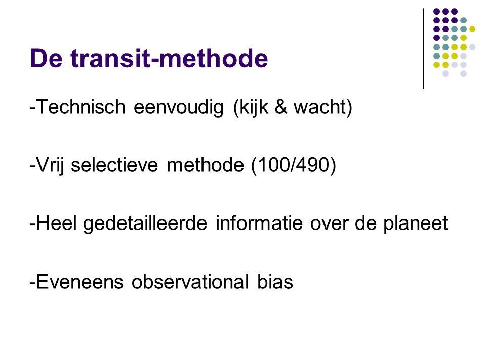 De transit-methode -Technisch eenvoudig (kijk & wacht) -Vrij selectieve methode (100/490) -Heel gedetailleerde informatie over de planeet -Eveneens observational bias
