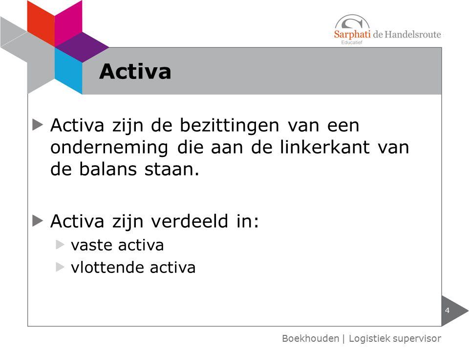 Activa zijn de bezittingen van een onderneming die aan de linkerkant van de balans staan. Activa zijn verdeeld in: vaste activa vlottende activa 4 Boe