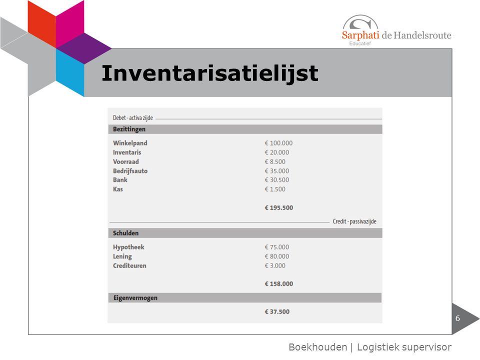 6 Boekhouden | Logistiek supervisor Inventarisatielijst
