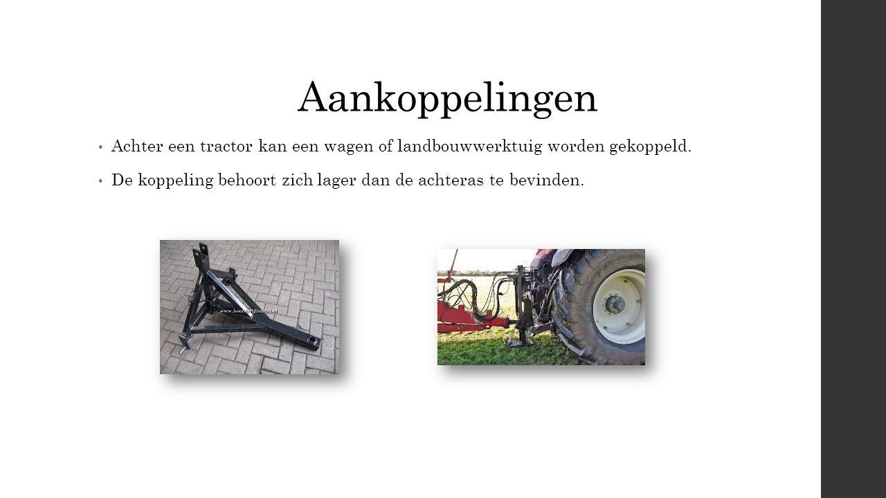 Aankoppelingen Achter een tractor kan een wagen of landbouwwerktuig worden gekoppeld.