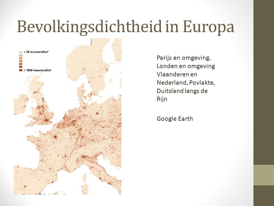 Bevolkingsdichtheid in Europa Parijs en omgeving, Londen en omgeving Vlaanderen en Nederland, Povlakte, Duitsland langs de Rijn Google Earth