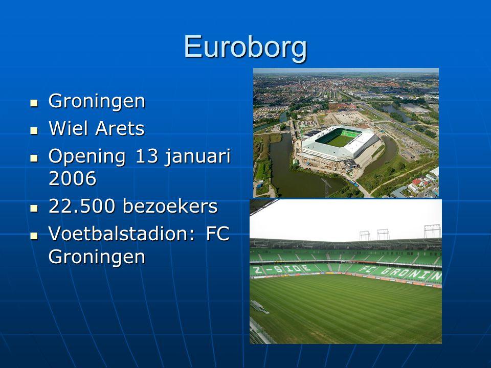Euroborg Groningen Groningen Wiel Arets Wiel Arets Opening 13 januari 2006 Opening 13 januari 2006 22.500 bezoekers 22.500 bezoekers Voetbalstadion: F