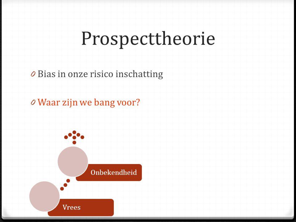 Prospecttheorie 0 Bias in onze risico inschatting 0 Waar zijn we bang voor? VreesOnbekendheid