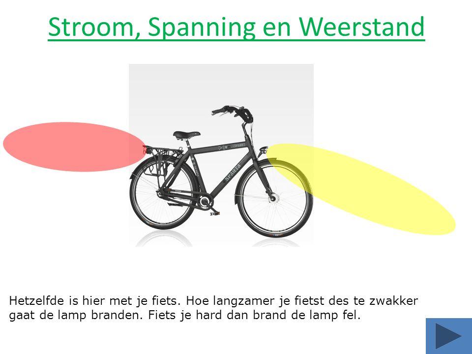 Hetzelfde is hier met je fiets. Hoe langzamer je fietst des te zwakker gaat de lamp branden. Fiets je hard dan brand de lamp fel.