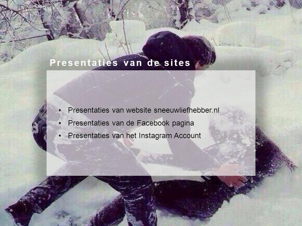 Presentaties van website sneeuwliefhebber.nl Presentaties van de Facebook pagina Presentaties van het Instagram Account Presentaties van de sites