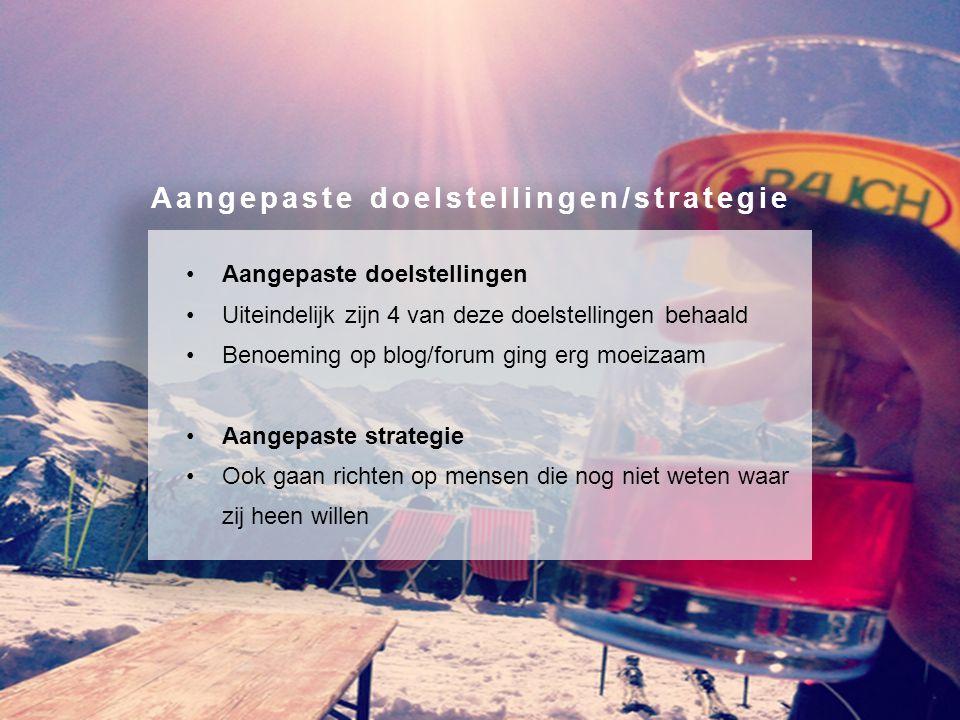 Aangepaste doelstellingen Uiteindelijk zijn 4 van deze doelstellingen behaald Benoeming op blog/forum ging erg moeizaam Aangepaste strategie Ook gaan