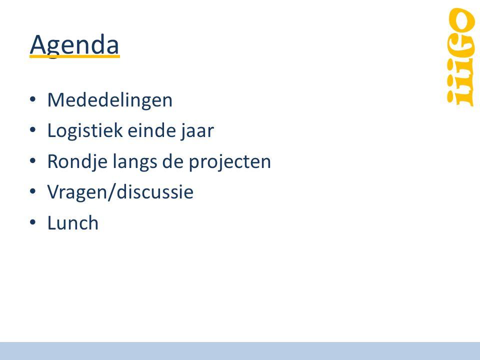 iiiGO Agenda Mededelingen Logistiek einde jaar Rondje langs de projecten Vragen/discussie Lunch