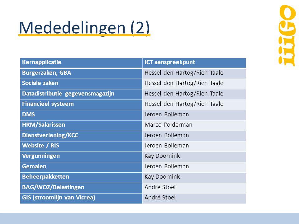 iiiGO Logistiek / einde jaar Implementatie hardware/standaardsoftware gereed op 15 dec Gemeentehuis dicht vanaf 21 dec – Logistiek, inhuizen, testen Migratie systemen vanaf 28 dec Testen op 1 jan Open: 2 jan