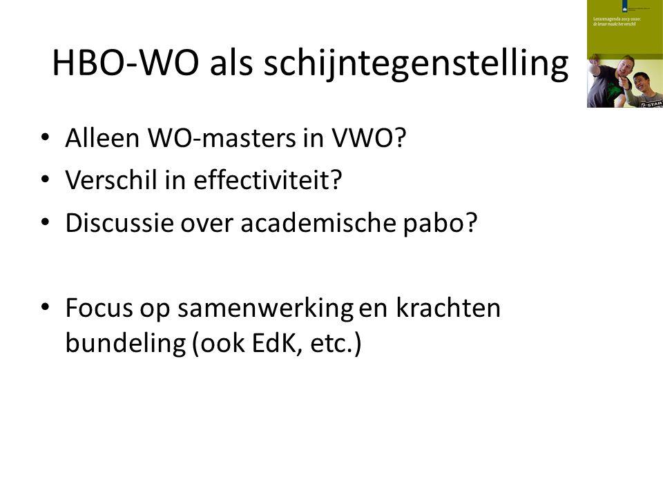 HBO-WO als schijntegenstelling Alleen WO-masters in VWO? Verschil in effectiviteit? Discussie over academische pabo? Focus op samenwerking en krachten