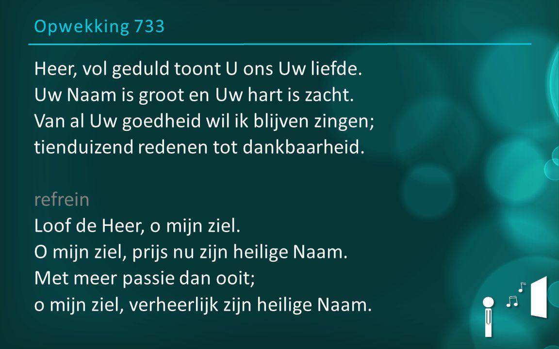 Opwekking 733 Heer, vol geduld toont U ons Uw liefde. Uw Naam is groot en Uw hart is zacht. Van al Uw goedheid wil ik blijven zingen; tienduizend rede