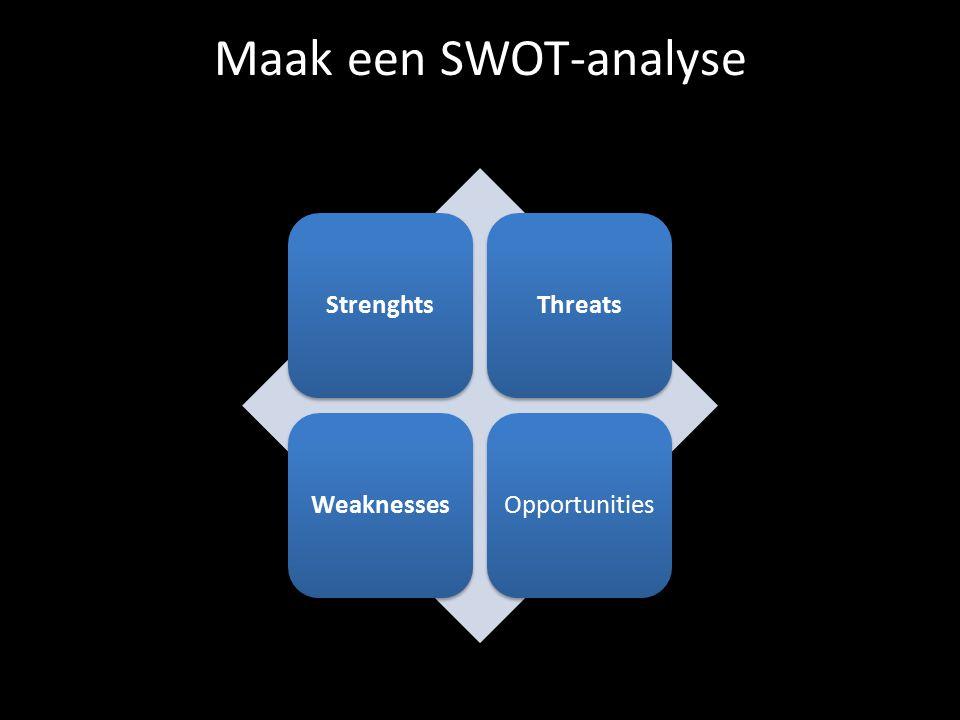 Maak een SWOT-analyse StrenghtsThreatsWeaknessesOpportunities