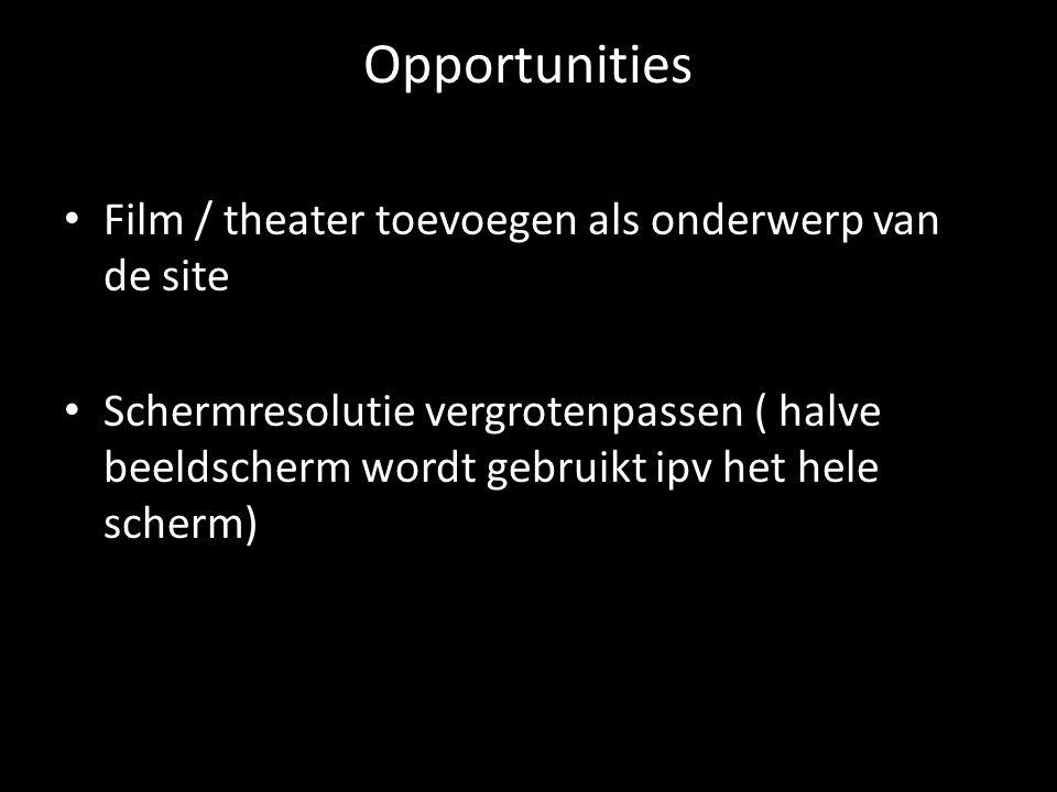 Opportunities Film / theater toevoegen als onderwerp van de site Schermresolutie vergrotenpassen ( halve beeldscherm wordt gebruikt ipv het hele scher