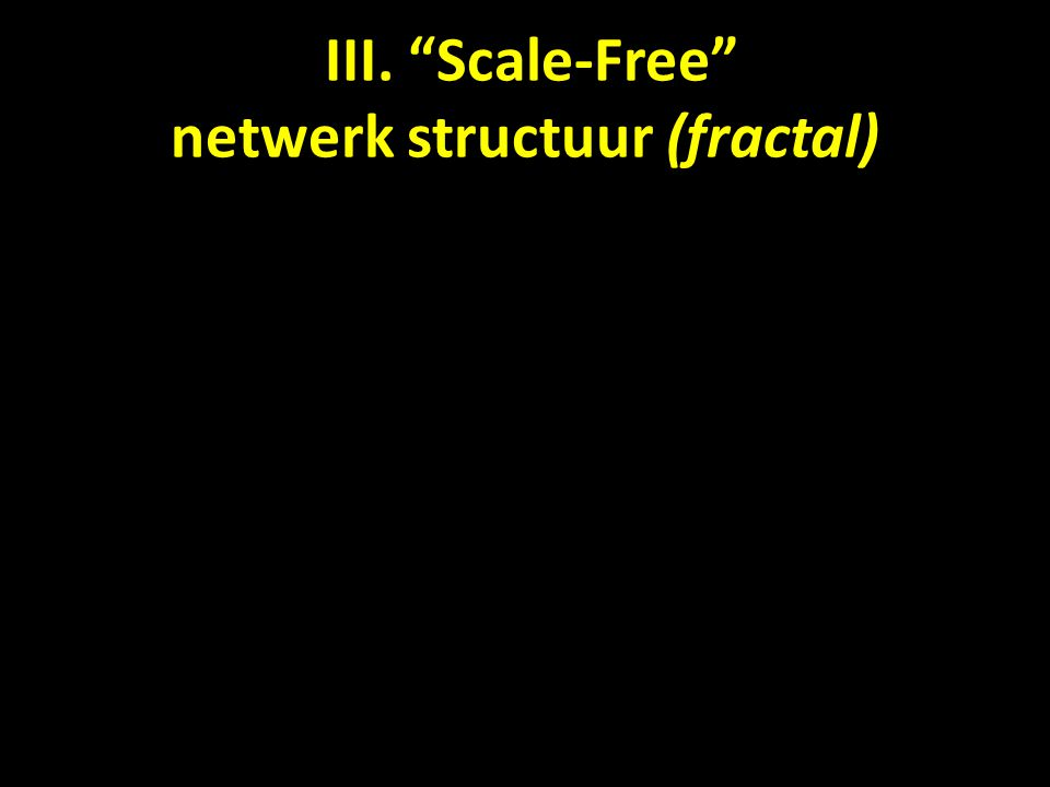 III. Scale-Free netwerk structuur (fractal)