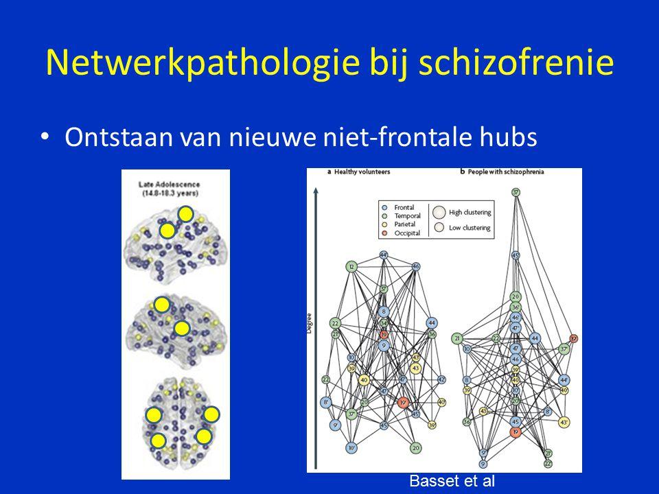 Netwerkpathologie bij schizofrenie Ontstaan van nieuwe niet-frontale hubs Basset et al