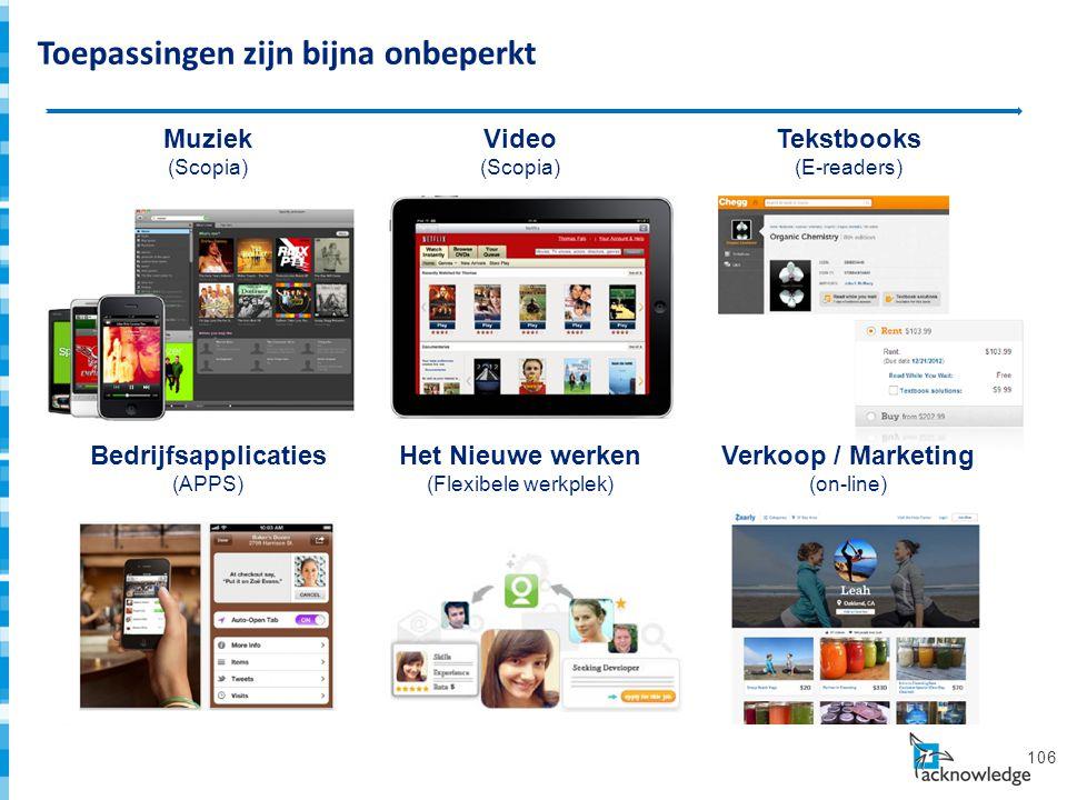 Bedrijfstoepassingen (APPS) 106 Video (Scopia) Tekstbooks (E-readers) Muziek (Scopia) Het Nieuwe werken (Flexibele werkplek) Verkoop / Marketing (on-line) Bedrijfsapplicaties (APPS) Toepassingen zijn bijna onbeperkt