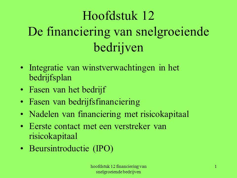 hoofdstuk 12 financiering van snelgroeiende bedrijven 1 Hoofdstuk 12 De financiering van snelgroeiende bedrijven Integratie van winstverwachtingen in het bedrijfsplan Fasen van het bedrijf Fasen van bedrijfsfinanciering Nadelen van financiering met risicokapitaal Eerste contact met een verstreker van risicokapitaal Beursintroductie (IPO)