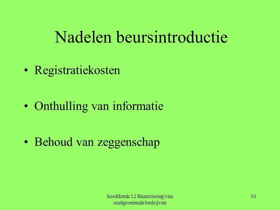 hoofdstuk 12 financiering van snelgroeiende bedrijven 10 Nadelen beursintroductie Registratiekosten Onthulling van informatie Behoud van zeggenschap