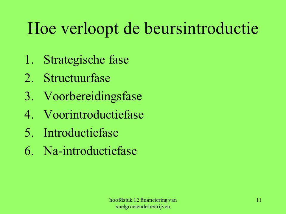 hoofdstuk 12 financiering van snelgroeiende bedrijven 11 Hoe verloopt de beursintroductie 1.Strategische fase 2.Structuurfase 3.Voorbereidingsfase 4.Voorintroductiefase 5.Introductiefase 6.Na-introductiefase