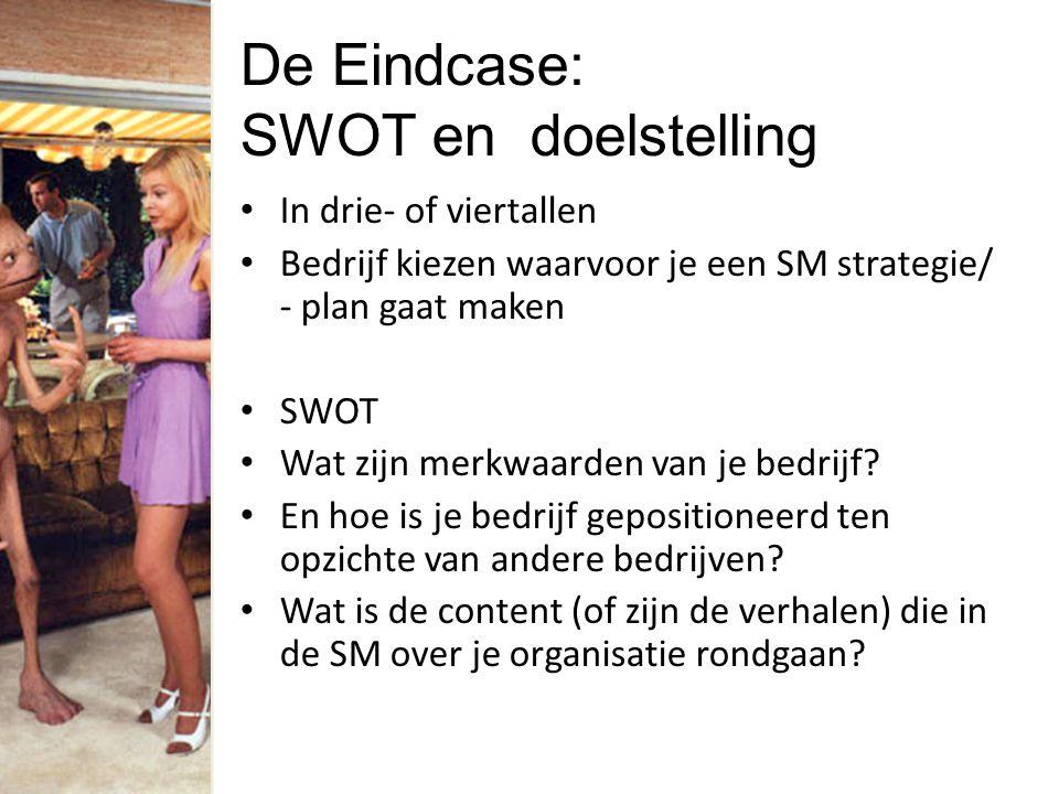 De Eindcase: SWOT en doelstelling In drie- of viertallen Bedrijf kiezen waarvoor je een SM strategie/ - plan gaat maken SWOT Wat zijn merkwaarden van