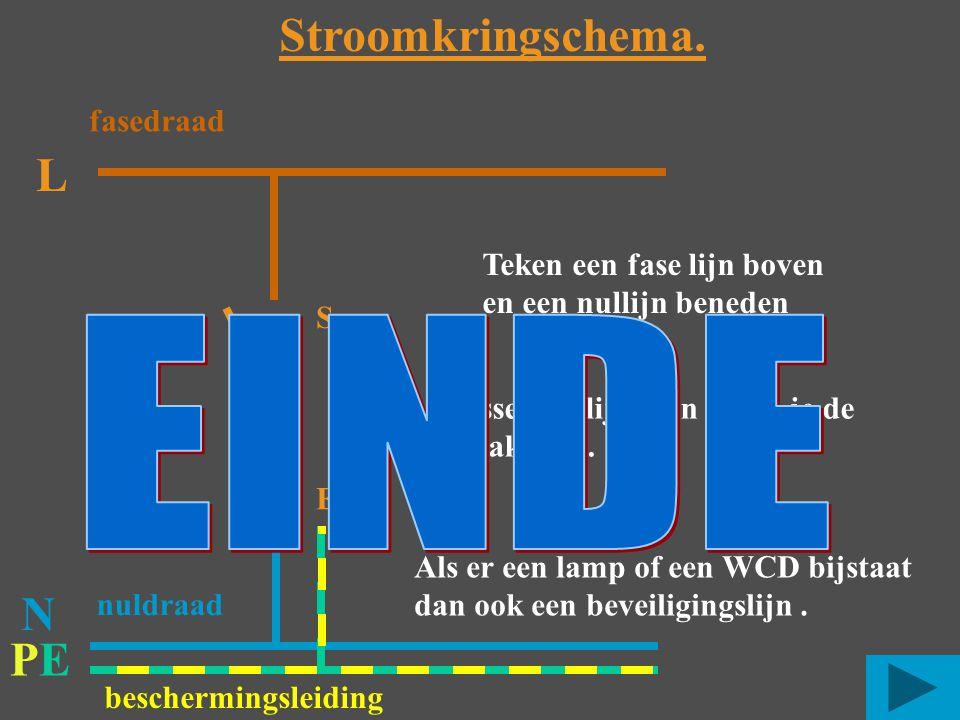 PEPE L S E Teken een fase lijn boven en een nullijn beneden Stroomkringschema. N Als er een lamp of een WCD bijstaat dan ook een beveiligingslijn. Tus