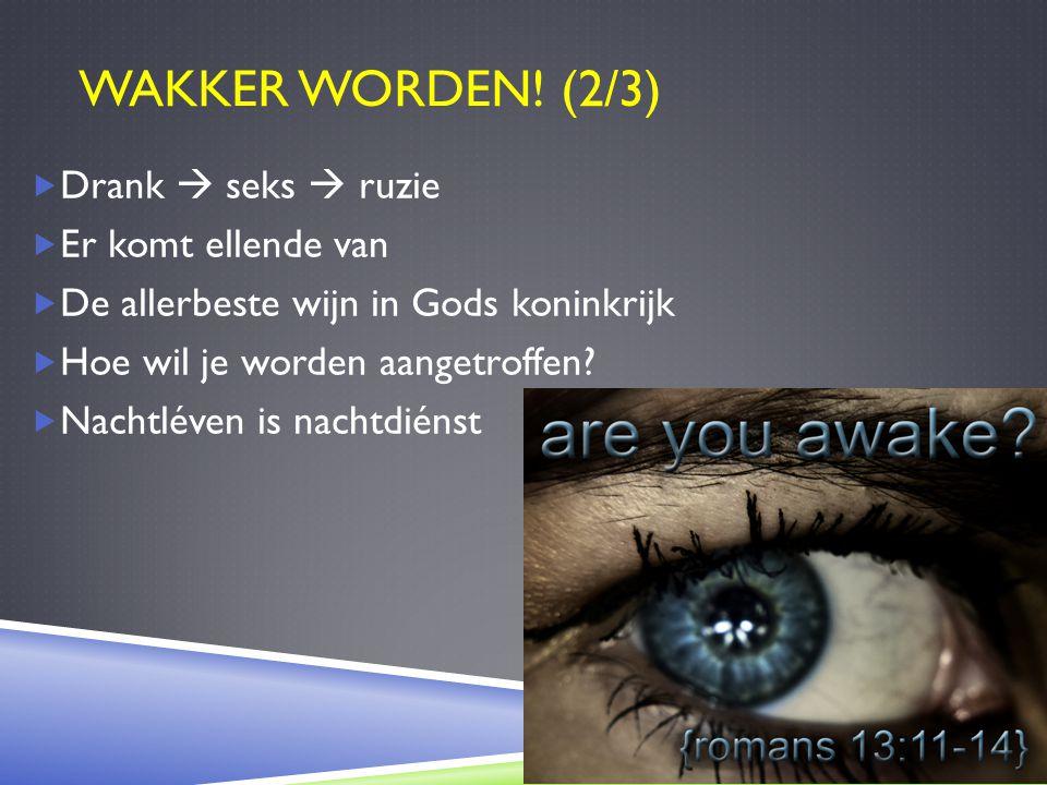 WAKKER WORDEN! (2/3)  Drank  seks  ruzie  Er komt ellende van  De allerbeste wijn in Gods koninkrijk  Hoe wil je worden aangetroffen?  Nachtlév