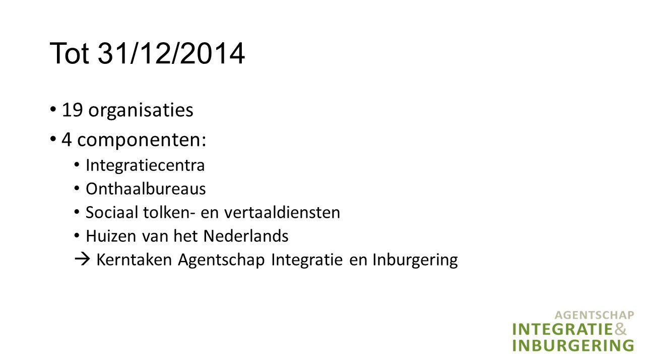 Tot 31/12/2014 19 organisaties 4 componenten: Integratiecentra Onthaalbureaus Sociaal tolken- en vertaaldiensten Huizen van het Nederlands  Kerntaken