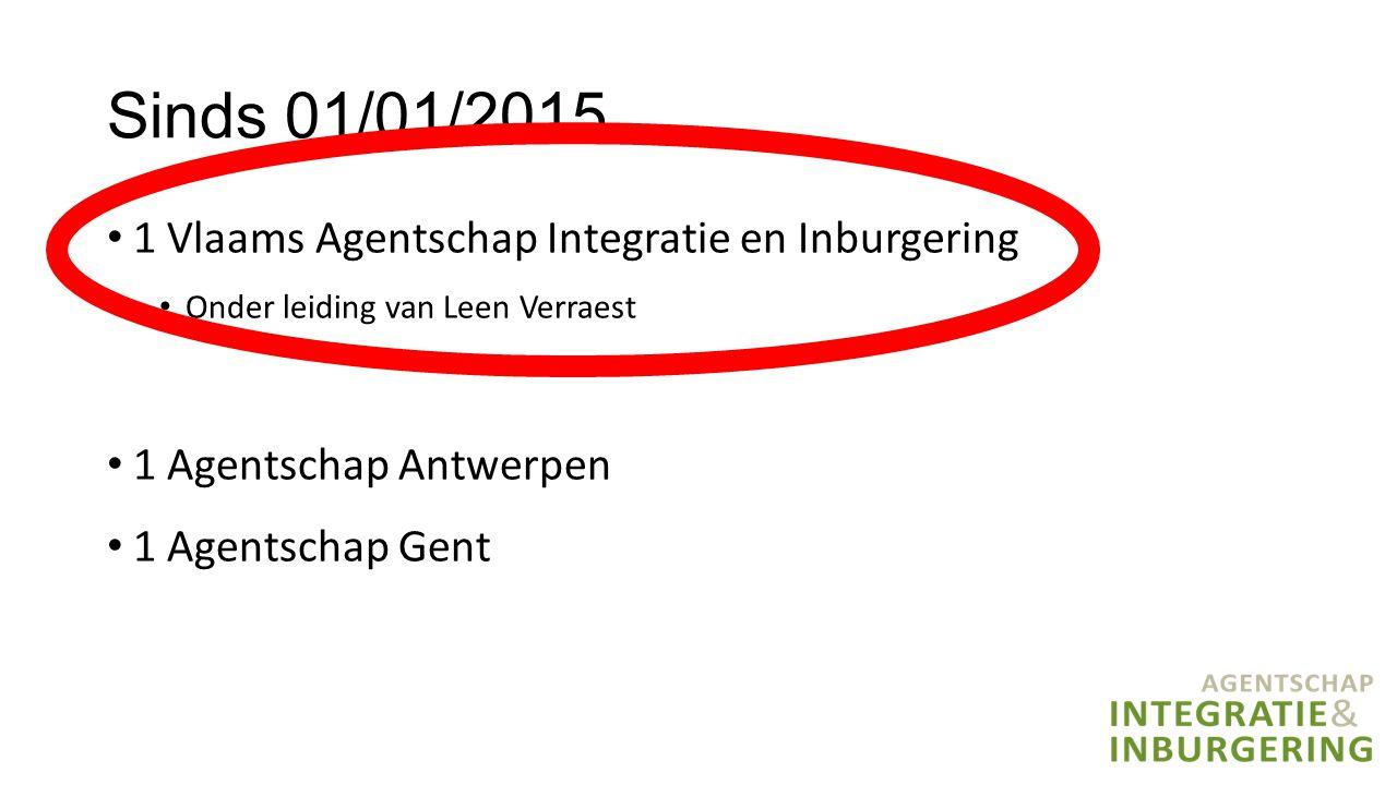Sinds 01/01/2015 1 Vlaams Agentschap Integratie en Inburgering Onder leiding van Leen Verraest 1 Agentschap Antwerpen 1 Agentschap Gent