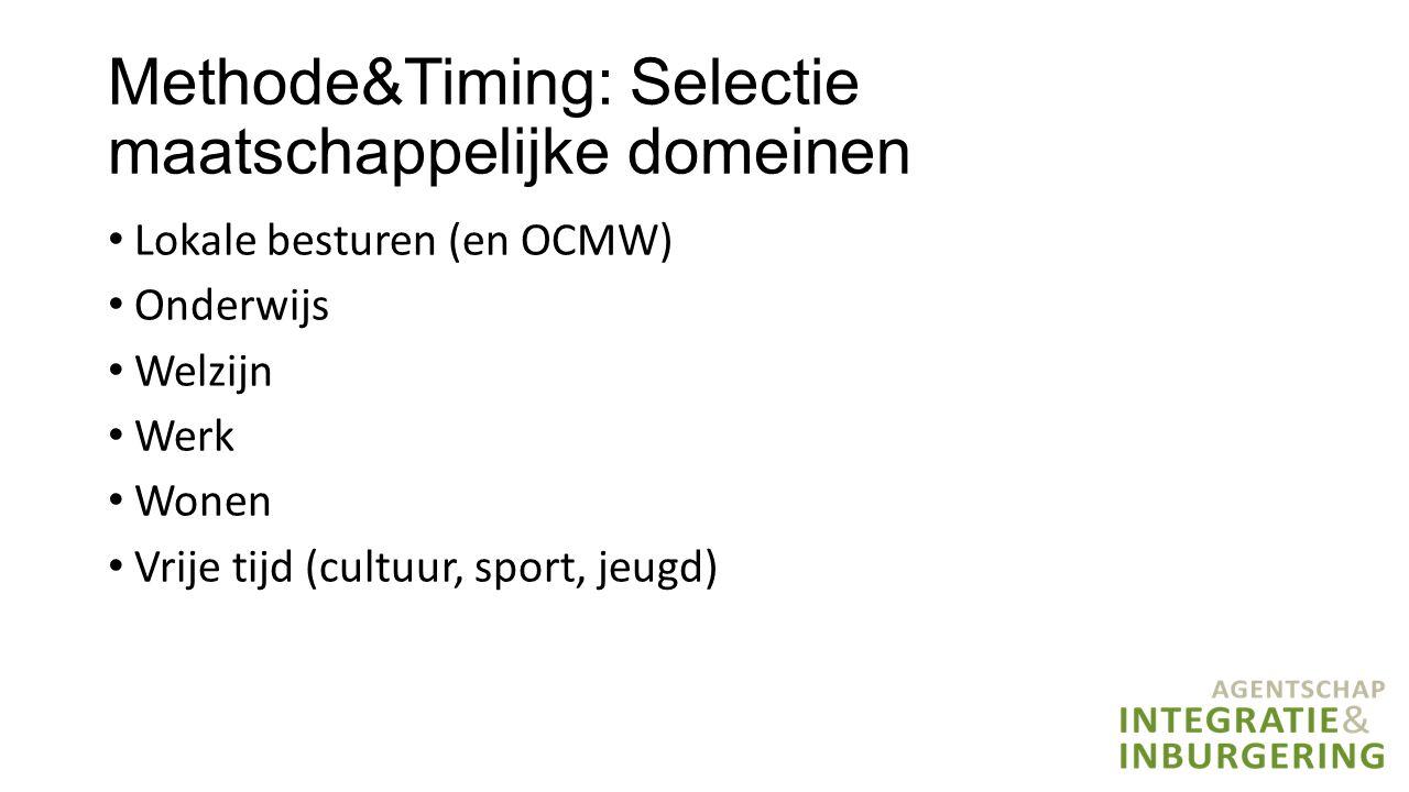 Methode&Timing: Selectie maatschappelijke domeinen Lokale besturen (en OCMW) Onderwijs Welzijn Werk Wonen Vrije tijd (cultuur, sport, jeugd)